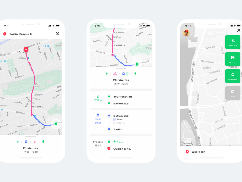 Fuzee multimodal transportation app ui czech clean design web ios iphone 10 prague public transportation public transit sharing economy transportation fuzee app