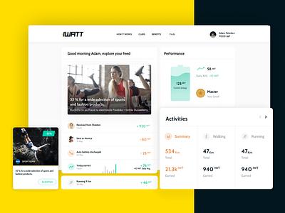 iWatt Sport mobile app dashboard ui dashboard tracker sport yellow prague czech qusion web app mobile app uiux iwatt webdesign ui