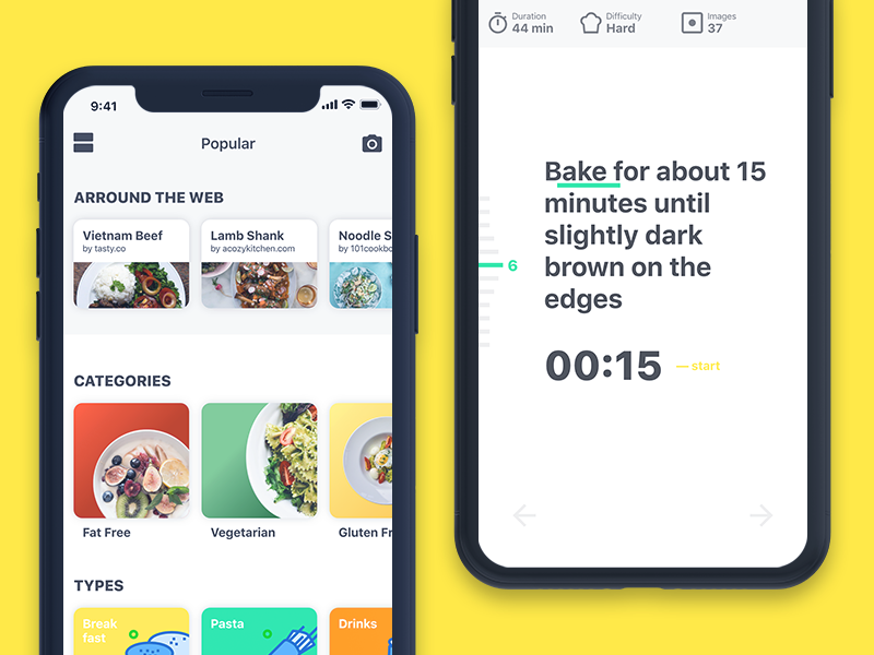GoChef ux recipes food user interface ui mobile iphone ios app