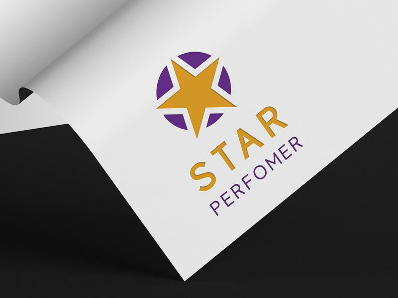 Star Performer logo colorful company blue corporate logo design creative clean modern