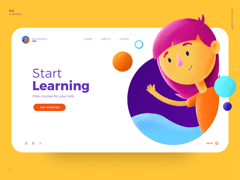 Learning for kids - Web happy girl character uidesign webdesign colors kids concept ui illustration