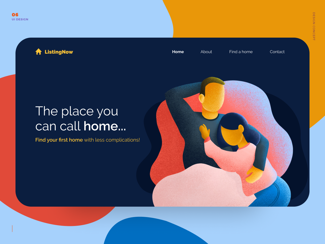 Web Concept - Home happy website procreate character userinterface uidesign webdesign love ui illustration concept