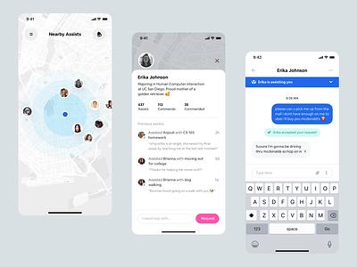 Assist mobile app design ✌🏻 minimal ios app profile message assist assistance help ios design mobile app design ui design ui