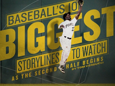 Baseball's 10 Biggest Storylines baseball pirates sports biggest outfield sports illustrated typography silhouette
