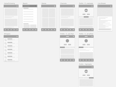 Twitch iOS App Redesign Wireframes user flows ios screens ui ux wireframes wires app mobile twitch