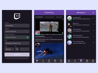 Progress on my Twitch App Redesign Concept user experience user interface dark mode navigation design ios app creative live-streaming gaming twitch