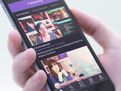 Updates to the Twitch App user experience user interface dark mode navigation design ios app creative live-streaming gaming twitch