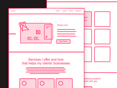 Portfolio homepage wireframes freehand wireframes website portfolio