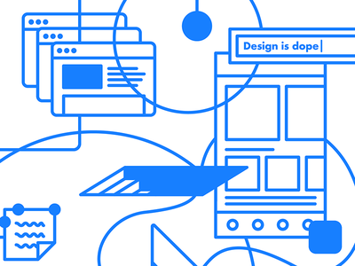 Homepage Illustration (Monchrome) monochrome header web desgin blue wireframes illustration website