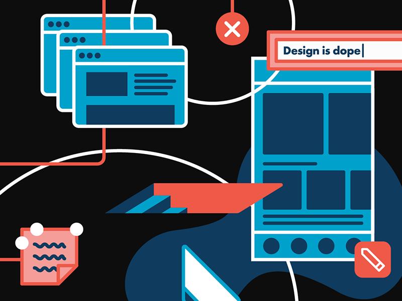 Homepage Illustration - Full Color design vector pencil sitemap sticky notes trap door orange blue illustration wireframes