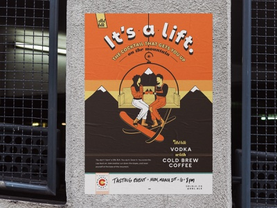 Cold Brew Cocktail Posters   DBL BLK - It's A Lift denver advertising photoshop vector drawing retro mountains illustrator ski character cocktail coffee branding design illustration