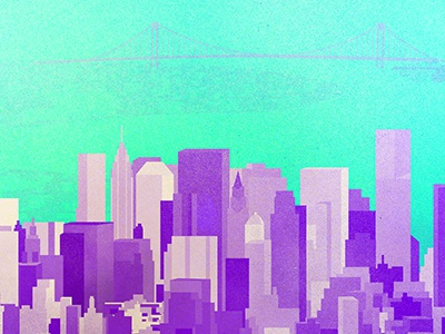 New York City Skyline nyc color art texture vector illustration