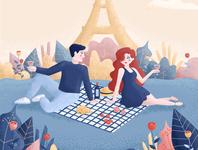 Pique-nique pres de la Tour Eiffel