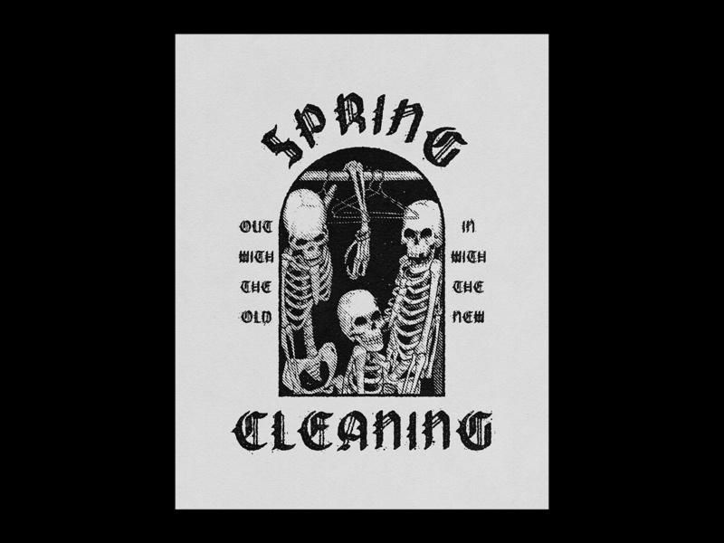 002. Spring Cleaning texture skeleton cleaing spring print poster