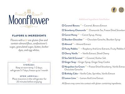 Moonflower Macarons luxury brand yonkers hiremarthalynnlaskie design contractor graphic design become impressive yonkersagency branding logo typography logo design cookies macarons