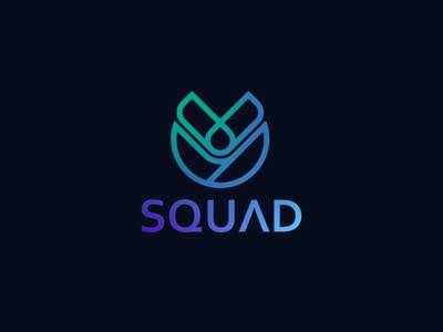 SQUAD letter branding identity gradient blue logodesign logo