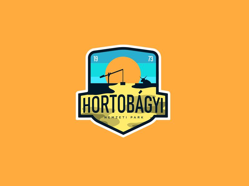 HORTOBÁGY NATIONAL PARK vector badge typography animal icon illustration logodesign identity branding logo