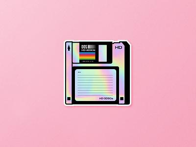 Stickermule HD-3D90s Floppy Disk stickermule fun sticker illustration illustrator floppy disk vintage retro