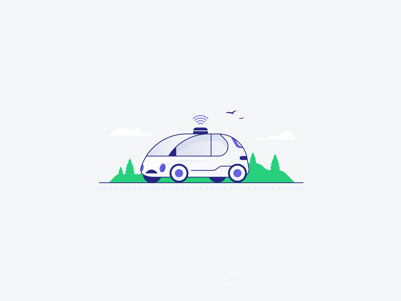 Smaht Cah product design ux ui travel smart car car tree illustrator vector icon minimal illustration