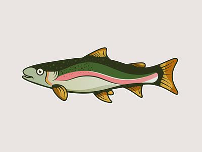 Rainbow Trout ui branding design minimal nature texture vector illustration illustrator rainbow trout fish trout fish logo