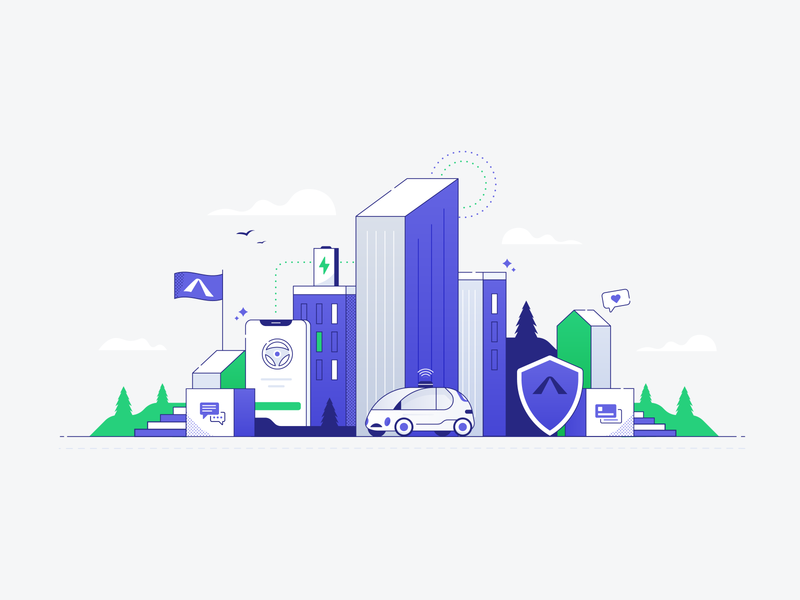 Smart City building flag insurance cloud mountain tree car city minimal illustrations smart car