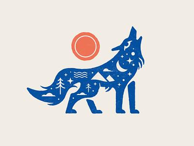 Folk art wolf tree shirt apparel print explore mountain stars sun cloud wolf nature illustration illustrator vector texture