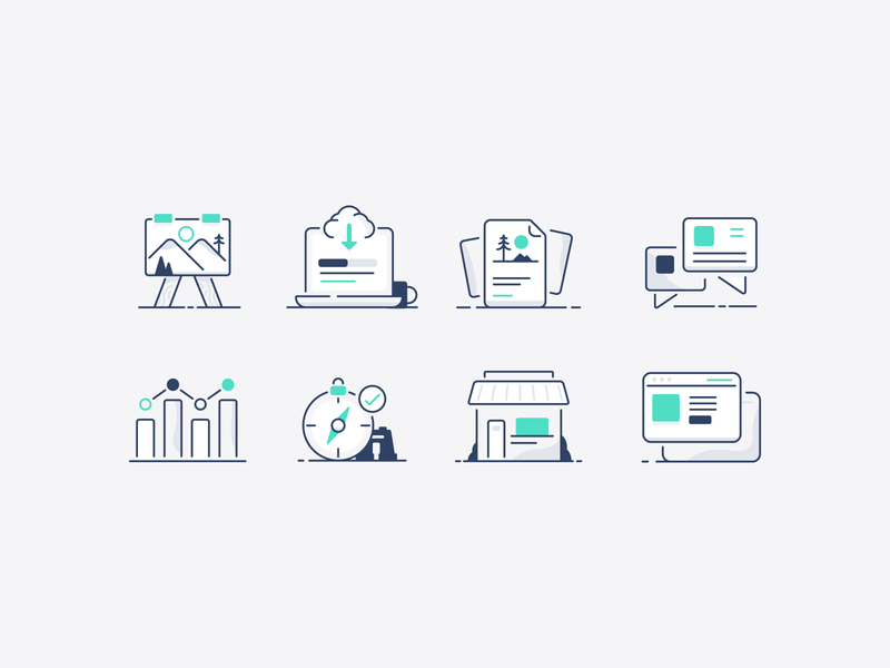 Business casual icons web storefront business compass chart graph message download upload iconography icon set mountain sun tree vector nature illustrator icon minimal illustration