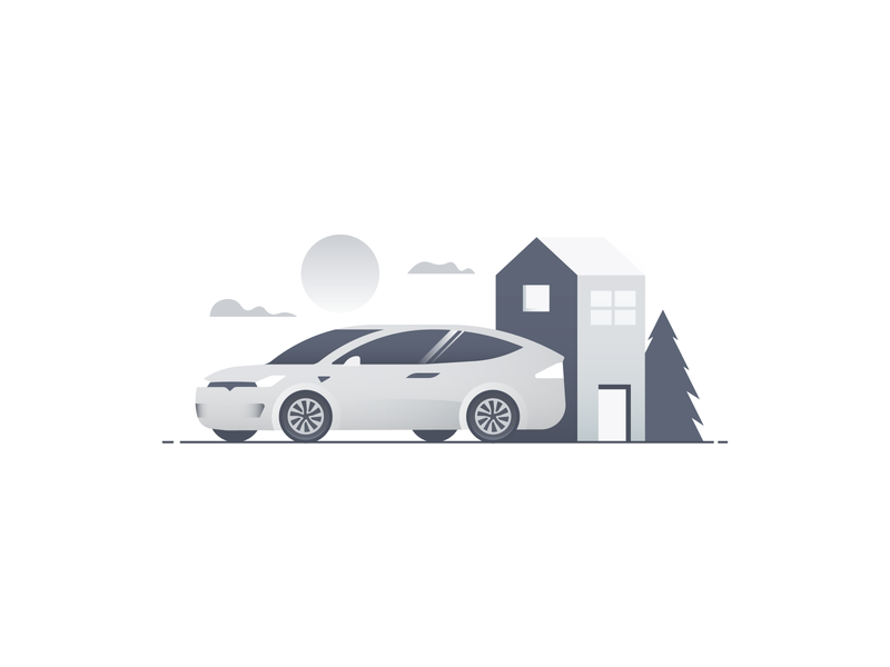Greyscale world greyscale grey gradient sun cloud tree home house tesla car illustrator nature vector icon minimal illustration