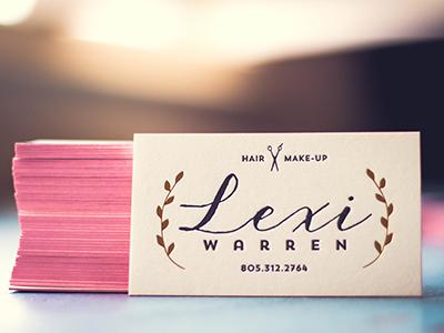 Wife's new cards mamas sauce hair make-up letterpress edge paint gold foil branding business card