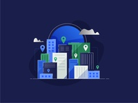 City Stack people clouds sun minimal nature building visual design ui tech city vector icon illustration