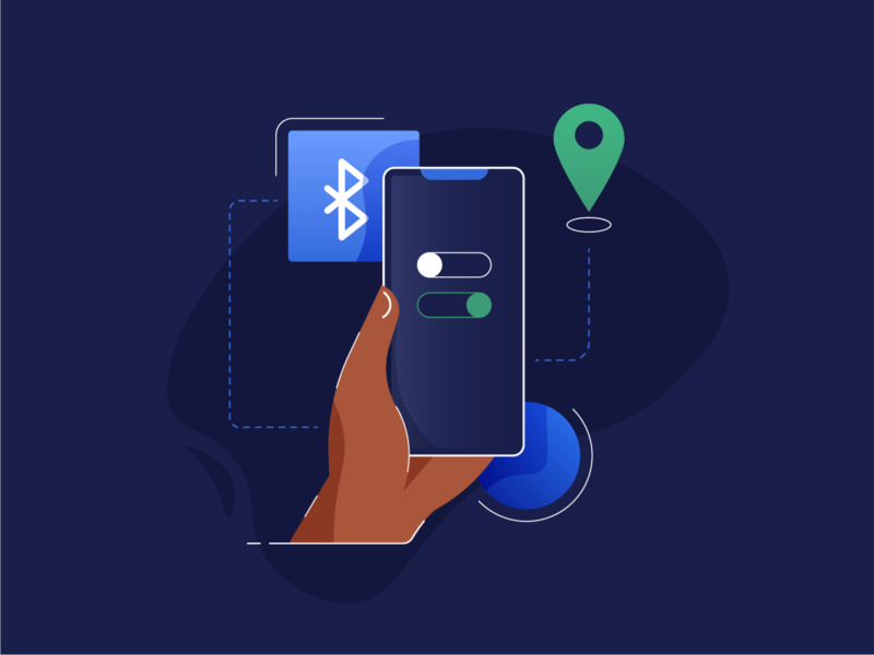 Bluetooth ON lineart shapes location apple character hand phone bluetooth ui illustrator vector minimal illustration