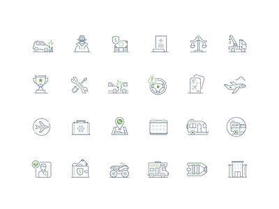 Travel insurance suite boat travel insurance money car brand design visual design ux ui vector illustration icon
