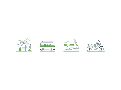 Travel icons ui illustrator vector minimal lineart travel illustration icon dirtbike motorcycle ocean sailboat car vehicle volkswagen van home house