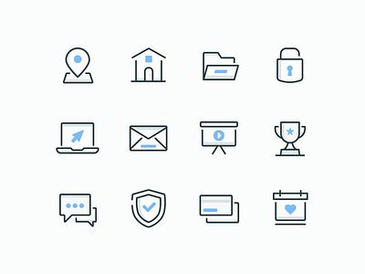 Business basics icon calendar payment security message award presentation email laptop lock folder home location illustration icon set icon design iconography icon