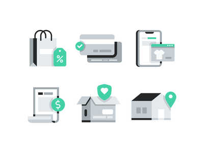 E-commerce illustration icons branding brand ui business money home location box shipping reciept bill shop credit shopping illustration icon set icon ecommerce