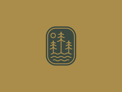 The Lakes line art minimal camp ocean lake river tree iconogrpahy icon apparel badge nature illustration art