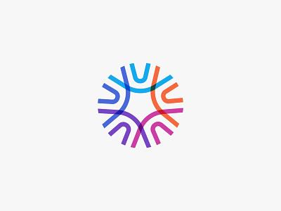 Unity brand identity line art minimal illustration illustrator icon circle overlay abstract logotype logo design branding brand logo