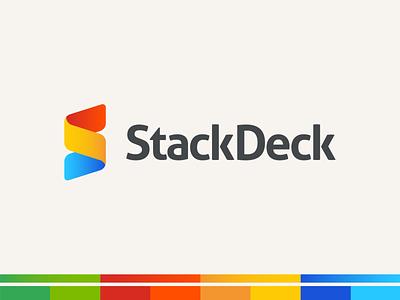 StackDeck colorful software startup presentation logotype logo design vintage retro primary colours primary gradient branding ui vector illustration logo