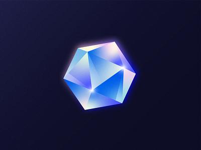 Crystal Key lowpoly poly noise grain vector art illustration venture crypto texture glow reflection key crystal