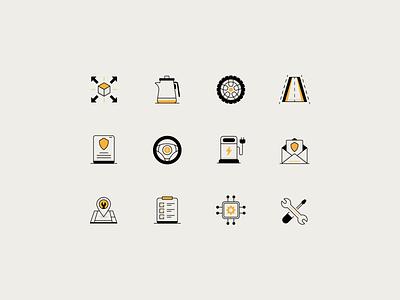 Auto-tech Icons checklist tools data repair charging electric autopilot steering insurance road wheel technology ui vector icon minimal illustration