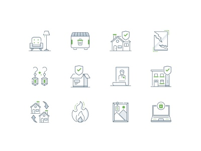 Home Coverage illustration minimal iconography icons icon laptop electronic art replacement fire apartment account jewelry glass loss trash furniture