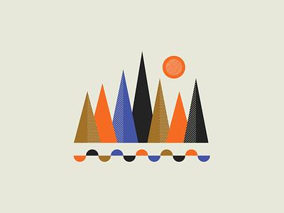 Tree Pattern illustrator illustration minimal color nature sun texture pattern shapes tree