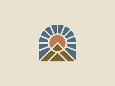 FIRST LIGHT national park travel hiking patagonia badge outdoors shirt apparel design nature vector icon minimal illustration
