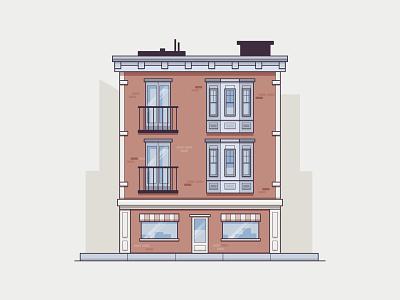 APRTMNT shadow balcony sidewalk line art shop brick city apartment house home vector icon illustration
