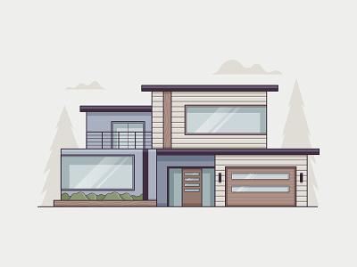 Modern garage living sun cloud tree minimal icon clean architecture modern home house vector illustration