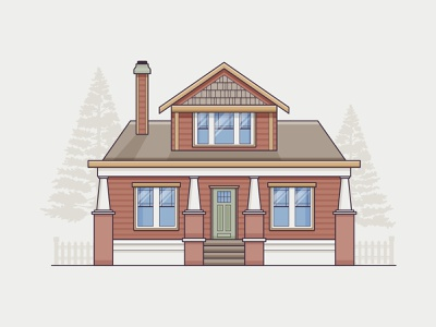 Arts & Crafts porch trees window paint icon minimal architecture style craftsman illustration home house