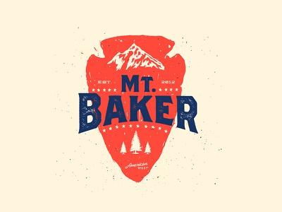 Mt.Baker shirt screenprint print josh warren pnw baker mountain arrowhead american west tree texture typography