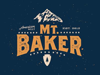 Mt. Baker type mountain travel adventure type typography josh warren sharpie texture tshirt