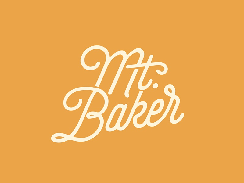 Mtbaker Yellow Drib script type mountain baker typography vintage josh warren yellow nature adventure