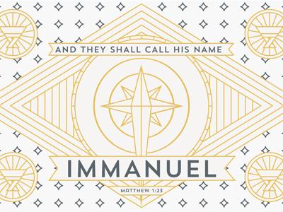 Immanuel star bethlehem line gold blue manger immanuel christmas season josh warren